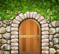 Stone wall with arch arched medieval wooden door and leaves Stock Photography