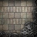 Stone wall background with metal gears