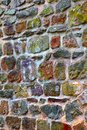 Stone wall lichen moss small city saarburg rheinland pfalz germany summer Royalty Free Stock Photo