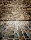 Stone wall old walls and floors of cubes to use as a background Royalty Free Stock Image