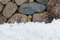 Stone wall with snow pile Royalty Free Stock Photo