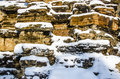 The Stone wall with Snow Royalty Free Stock Photo