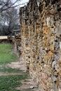 Stone wall of spanish mission espada in san antonio texas Stock Image