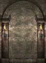Stone wall with torches Royalty Free Stock Image