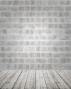 Stone Wall with Wooden Floor Royalty Free Stock Photography