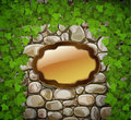 Stone wall with wooden shield and leaves Stock Photography