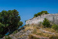 Stone walls of ancient fortress up the hill sutomore town hiking and historical places routes montenegro Stock Photo