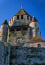 Stone walls and towers of a medieval castle in the town of Provins Royalty Free Stock Photo
