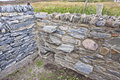 Stone walls two different come together in rural donegal ireland Stock Photography