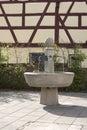 Stone water fountain honoring the former hops farmers of Langenzenn, Germany