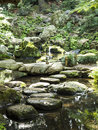 Stone and water in Riykugien Garden, Tokyo Royalty Free Stock Photo