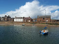 Stonehaven harbor north east scotland may the oldest building in the tolbooth is the building on the right Royalty Free Stock Image