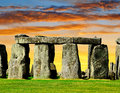 Stonehenge historical monument in the sunset england uk Royalty Free Stock Image