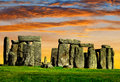 Stonehenge historical monument in the sunset england uk Royalty Free Stock Photo