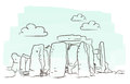 Stonehenge illustration of isolated against white background Stock Photos