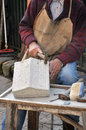 Stonemason hands detail of craftsman at work Royalty Free Stock Photography
