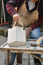 Stonemason hands detail of craftsman at work Royalty Free Stock Photos