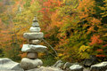 Stones on autumn background tower with colors Royalty Free Stock Images