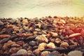 Stones background on beach Royalty Free Stock Photo