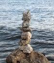 Stones balanced on the seashore Royalty Free Stock Photo