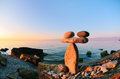 Stones coastal balancing of each other on the seashore Royalty Free Stock Photography