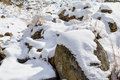 Stones covered with snow Royalty Free Stock Photo