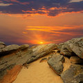 Stones desert on sunset background Royalty Free Stock Images