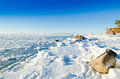 Stones ice baltic sea coast Royalty Free Stock Photo
