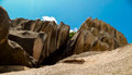 Stones of la digue seychelles the stone structures Royalty Free Stock Images