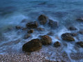 Stones at misty sea 1 Royalty Free Stock Photo