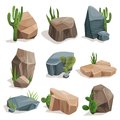 Stones and nature rocks set with green grass and cactus set, landscape design elements vector Illustrations Royalty Free Stock Photo