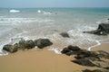 Stones on the sand beach sri lanka Stock Photography