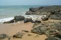 Stones on the sand beach sri lanka Royalty Free Stock Photo