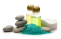Stones sea salt and shampoo bottles Royalty Free Stock Image