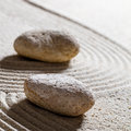 Stones on sinuous lines for change with inner peace Royalty Free Stock Photo