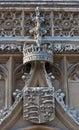 Stonework crest  King's College, Cambridge. Stock Photo