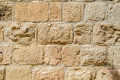 Stonework fragment of a wall on the one street in old jerusalem Stock Image