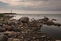 Stony beach in estonia by baltic sea Stock Image