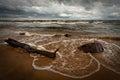 Stony beach in latvia by baltic sea Stock Photography