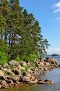Stony islands in finland gulf Royalty Free Stock Photo