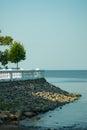 Stony sea coast in the park Stock Photo