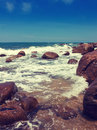 Stony sea coast in vintage style toning Royalty Free Stock Photo