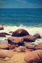 Stony sea coast in vintage style toning Stock Photo