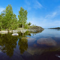 Stony shore of Ladoga lake Stock Photos