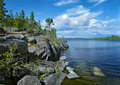 Stony shore of Ladoga lake Royalty Free Stock Image
