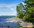 Stony shore of Ladoga lake Stock Image