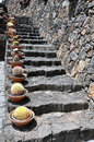 Stony stairs with cactus in Lanzarote Royalty Free Stock Photo