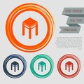 Stool icons on the red, blue, green, orange buttons for your website and design with space text. Royalty Free Stock Photo