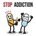 Stop addiction, Amphetamine, Conceptual vector illustration.