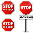 Stop addiction sign on white background Royalty Free Stock Image